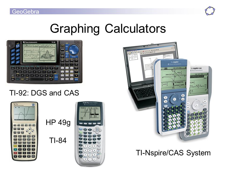 GeoGebra TI-92: DGS and CAS Graphing Calculators HP 49g TI-84 TI-Nspire/CAS System