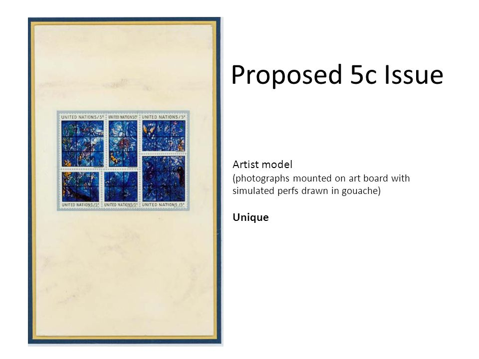 Proposed 5c Issue Artist model (photographs mounted on art board with simulated perfs drawn in gouache) Unique