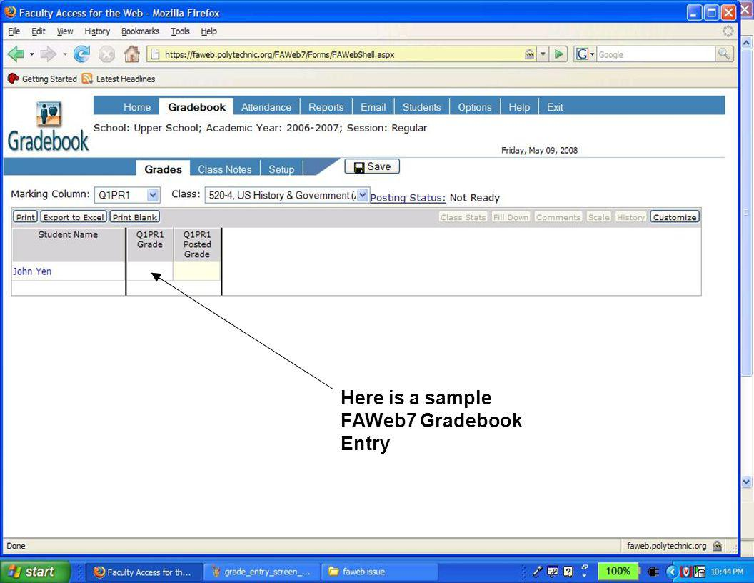 Here is a sample FAWeb7 Gradebook Entry