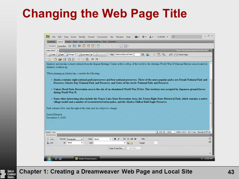 Chapter 1: Creating a Dreamweaver Web Page and Local Site 43 Changing the Web Page Title
