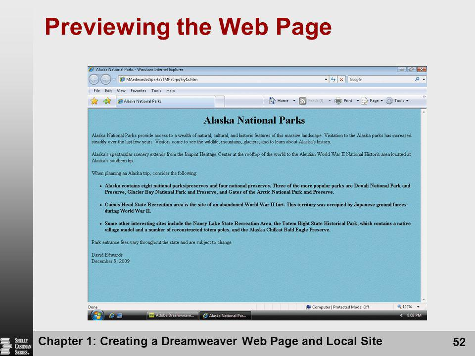 Chapter 1: Creating a Dreamweaver Web Page and Local Site 52 Previewing the Web Page