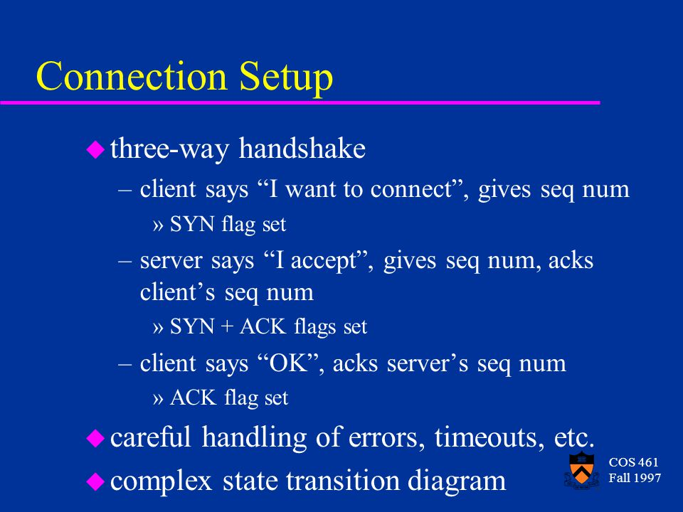 COS 461 Fall 1997 Connection Setup u three-way handshake –client says I want to connect, gives seq num »SYN flag set –server says I accept, gives seq num, acks clients seq num »SYN + ACK flags set –client says OK, acks servers seq num »ACK flag set u careful handling of errors, timeouts, etc.