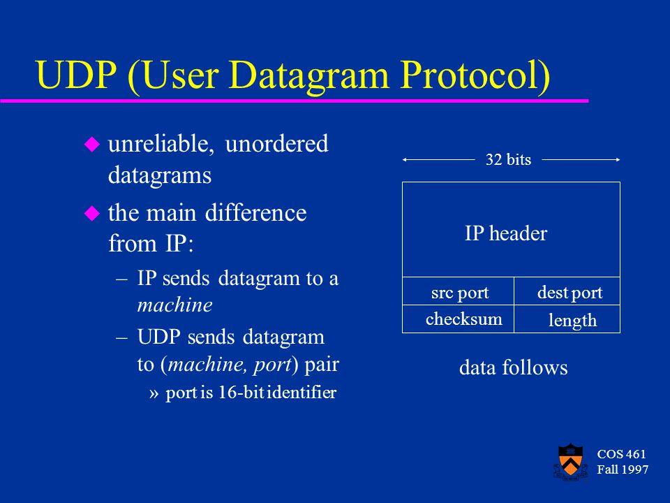 COS 461 Fall 1997 UDP (User Datagram Protocol) u unreliable, unordered datagrams u the main difference from IP: –IP sends datagram to a machine –UDP s