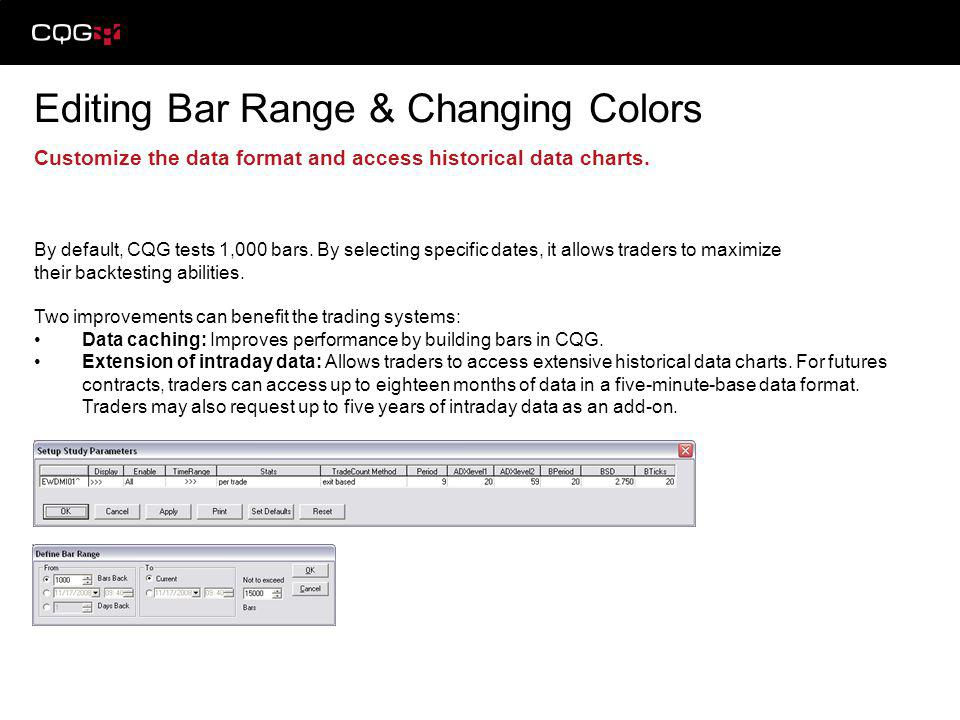 Editing Bar Range & Changing Colors Customize the data format and access historical data charts. By default, CQG tests 1,000 bars. By selecting specif