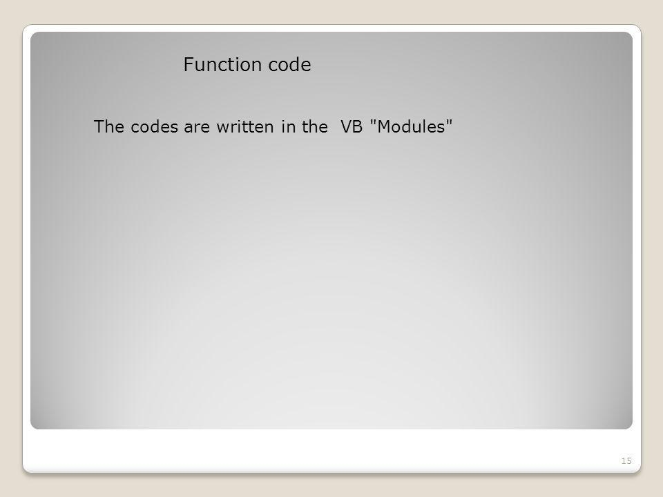 Function code 15 The codes are written in the VB Modules