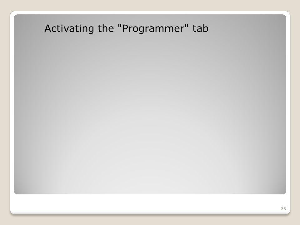 Activating the Programmer tab 35