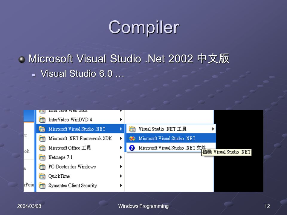122004/03/08Windows Programming Compiler Microsoft Visual Studio.Net 2002 Microsoft Visual Studio.Net 2002 Visual Studio 6.0 … Visual Studio 6.0 …