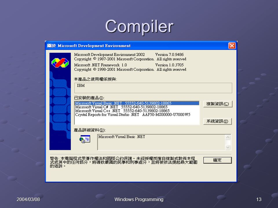 132004/03/08Windows Programming Compiler