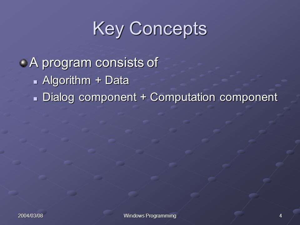 42004/03/08Windows Programming Key Concepts A program consists of Algorithm + Data Algorithm + Data Dialog component + Computation component Dialog component + Computation component