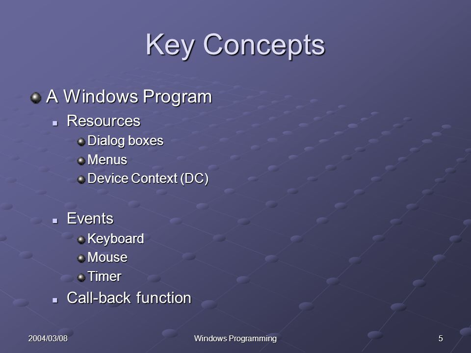 52004/03/08Windows Programming Key Concepts A Windows Program Resources Resources Dialog boxes Menus Device Context (DC) Events EventsKeyboardMouseTimer Call-back function Call-back function