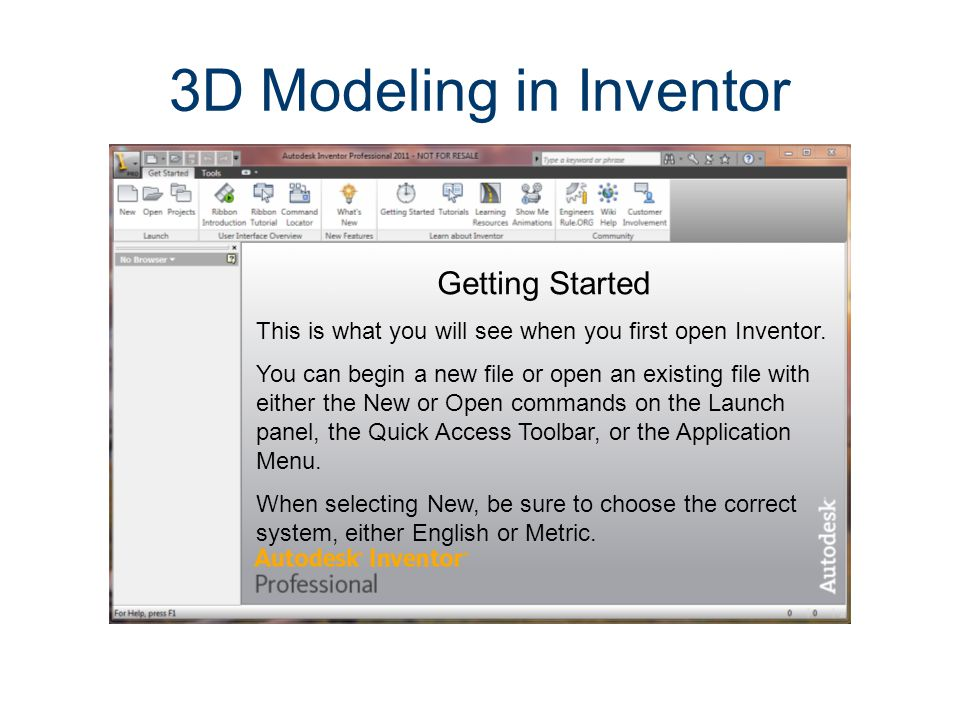 Inventor Screen Layout Application Menu Contains common commands for creating, saving, and printing.