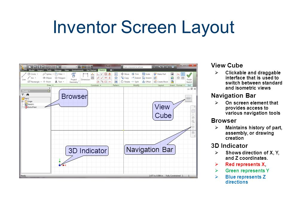 View Cube Clickable and draggable interface that is used to switch between standard and isometric views Navigation Bar On screen element that provides