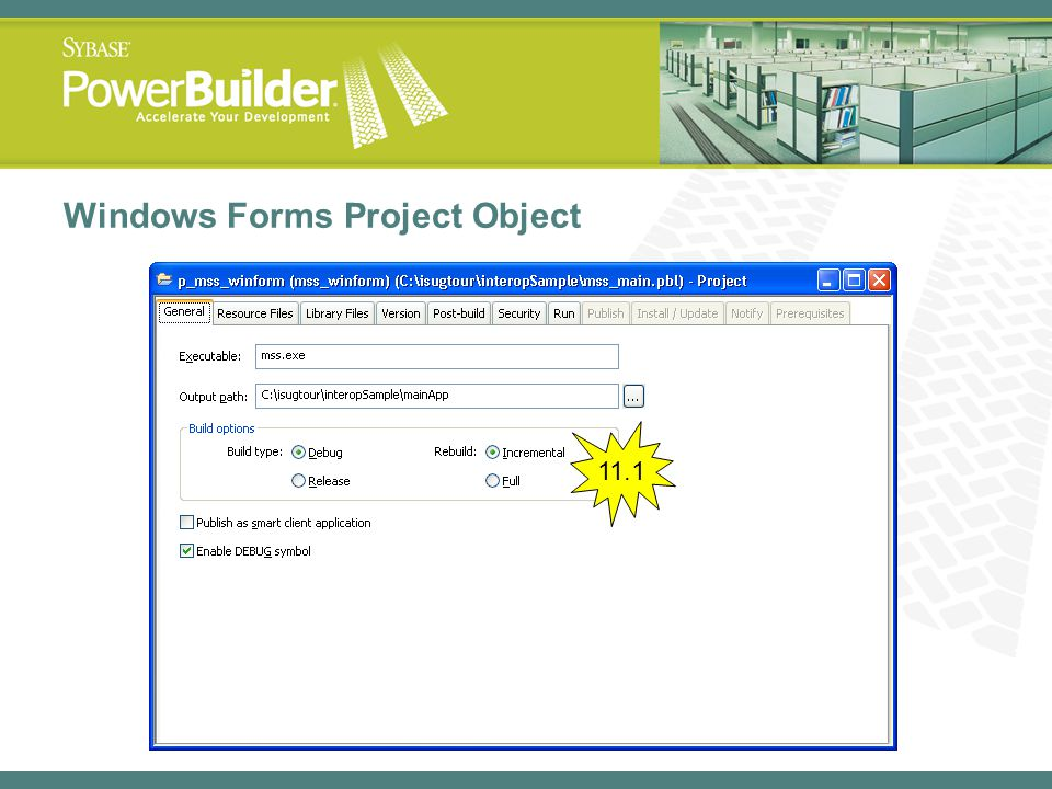 Windows Forms Project Object 11.1