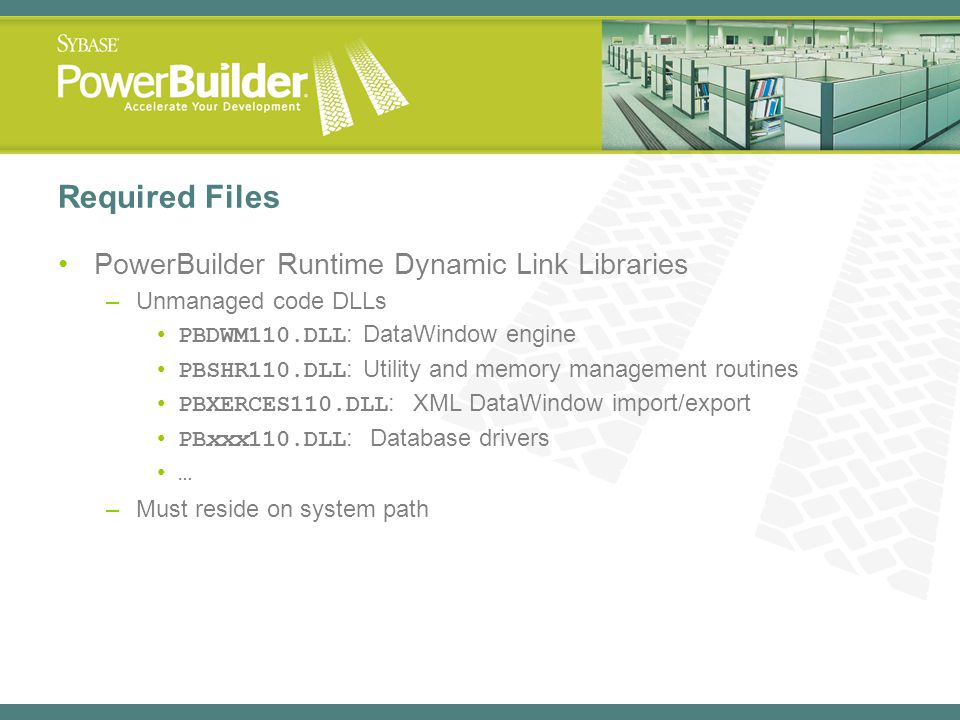 Required Files PowerBuilder Runtime Dynamic Link Libraries –Unmanaged code DLLs PBDWM110.DLL : DataWindow engine PBSHR110.DLL : Utility and memory man