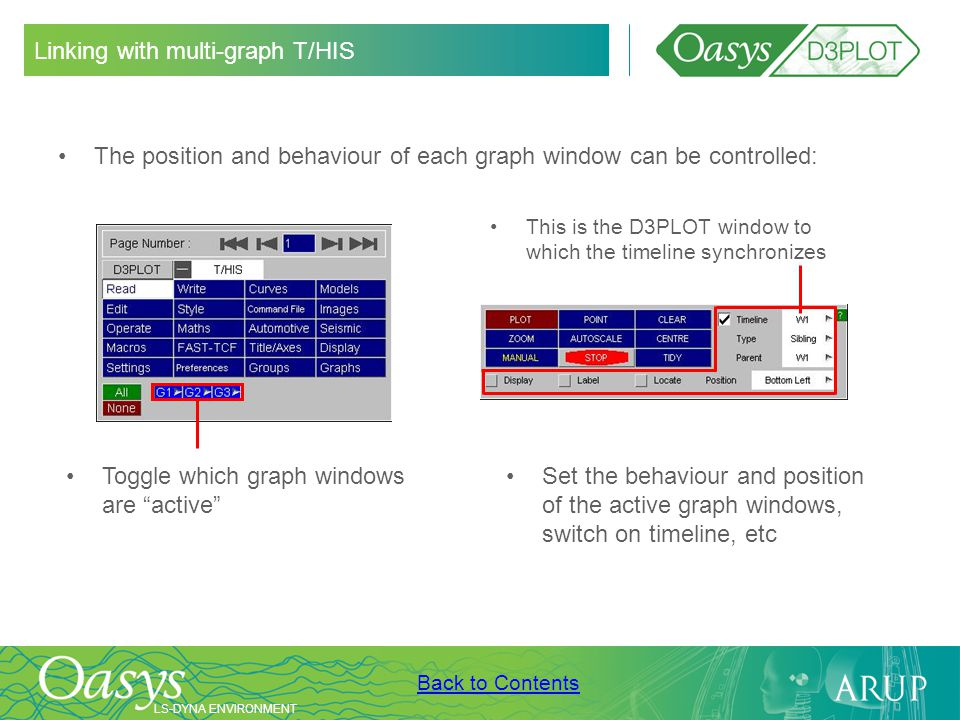 LS-DYNA ENVIRONMENT Back to Contents Linking with multi-graph T/HIS The position and behaviour of each graph window can be controlled: Toggle which gr