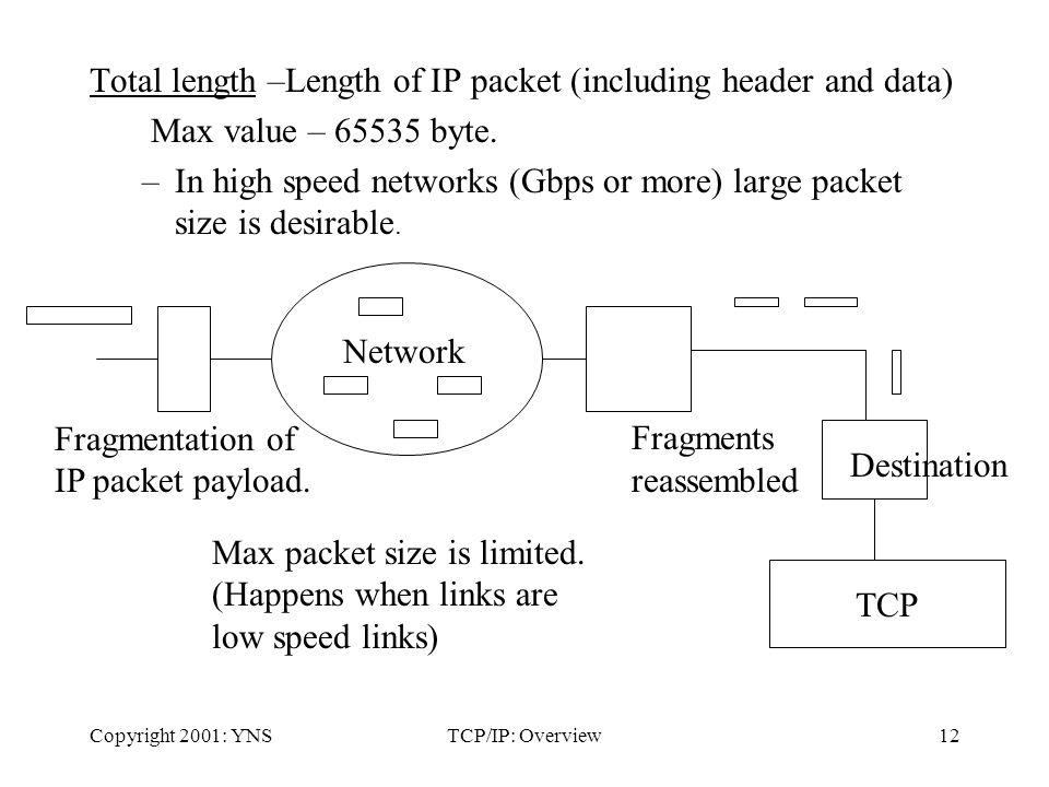 Copyright 2001: YNSTCP/IP: Overview12 Total length –Length of IP packet (including header and data) Max value – 65535 byte.
