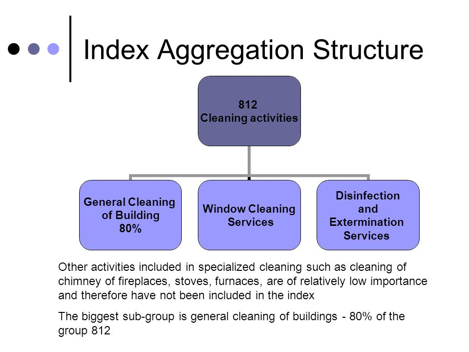 Index Aggregation Structure 812 Cleaning activities General Cleaning of Building 80% Window Cleaning Services Disinfection and Extermination Services