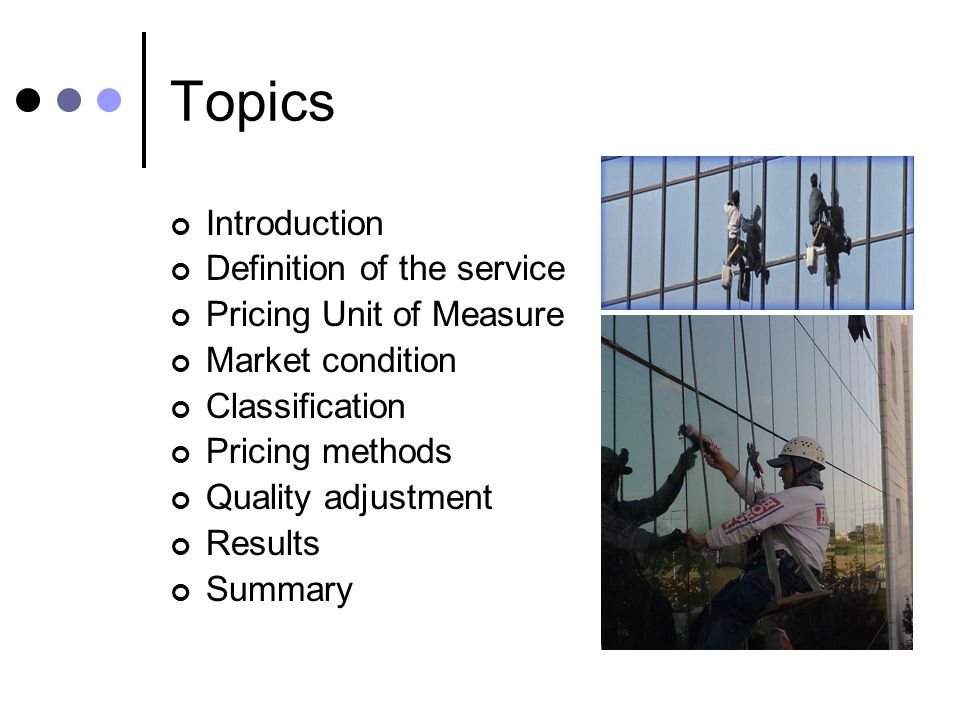 Topics Introduction Definition of the service Pricing Unit of Measure Market condition Classification Pricing methods Quality adjustment Results Summary