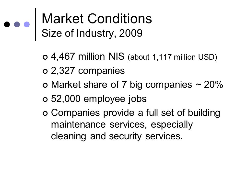 Market Conditions Size of Industry, 2009 4,467 million NIS (about 1,117 million USD) 2,327 companies Market share of 7 big companies ~ 20% 52,000 empl