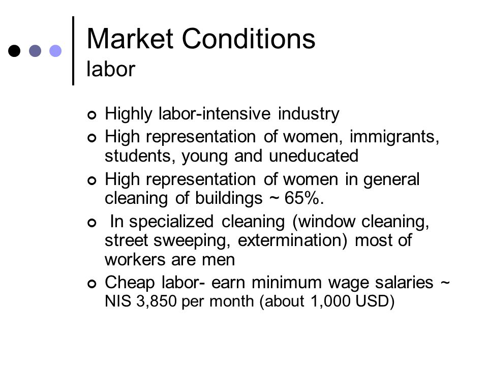 Market Conditions labor Highly labor-intensive industry High representation of women, immigrants, students, young and uneducated High representation o