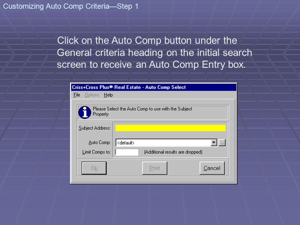 Click on the Auto Comp button under the General criteria heading on the initial search screen to receive an Auto Comp Entry box. Customizing Auto Comp