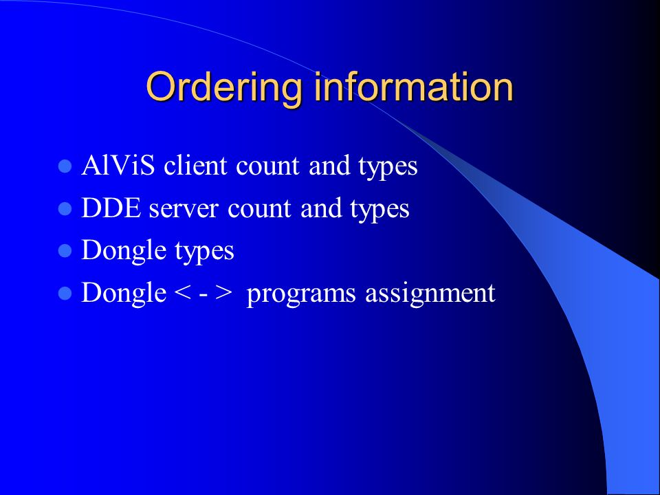 Ordering information AlViS client count and types DDE server count and types Dongle types Dongle programs assignment