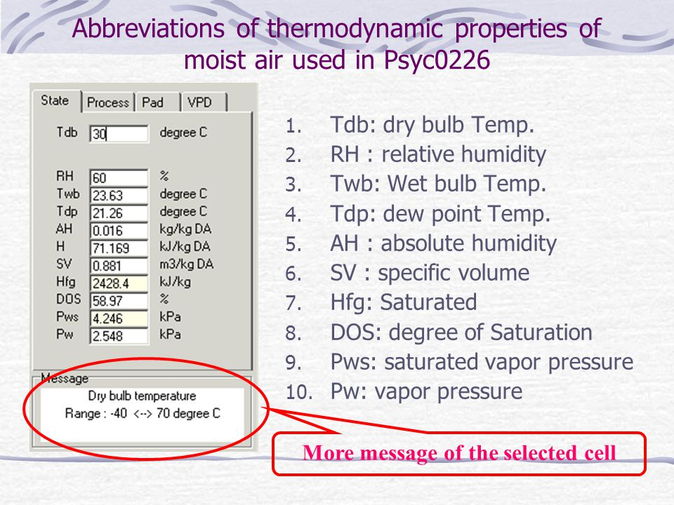 Abbreviations of thermodynamic properties of moist air used in Psyc0226 1.