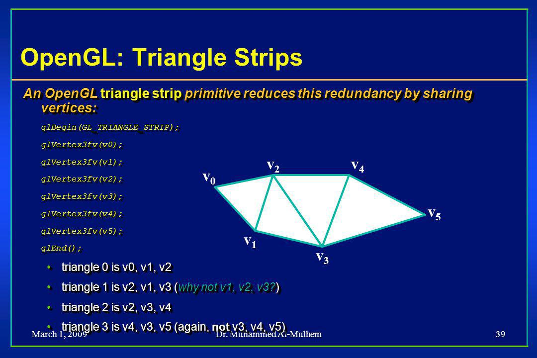 March 1, 2009Dr. Muhammed Al-Mulhem39 OpenGL: Triangle Strips An OpenGL triangle strip primitive reduces this redundancy by sharing vertices: glBegin(