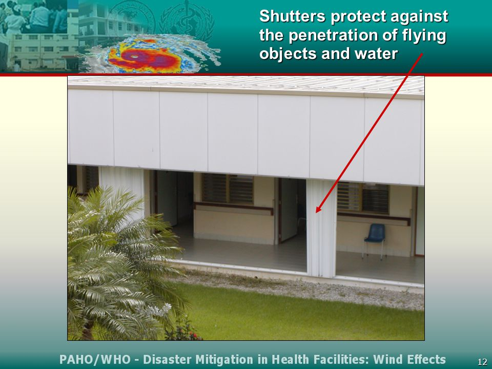 12 Shutters protect against the penetration of flying objects and water
