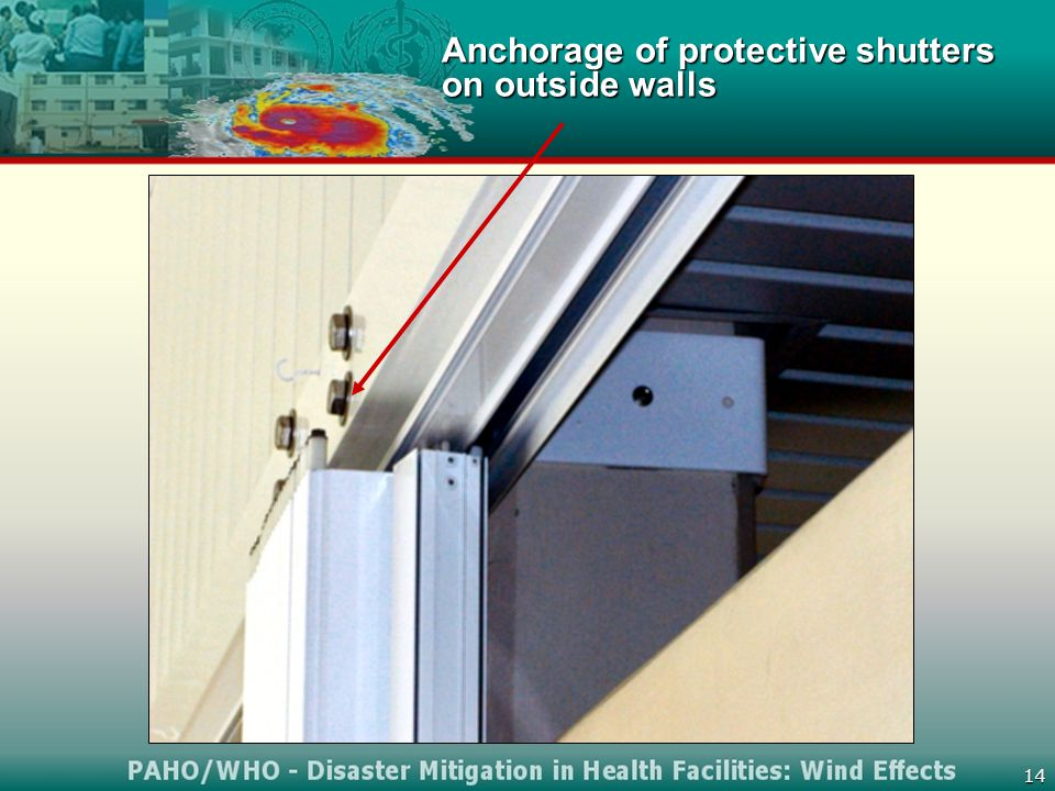 14 Anchorage of protective shutters on outside walls