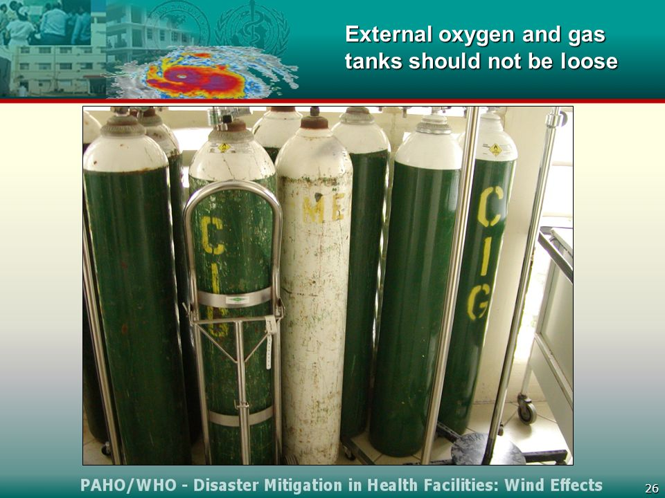 26 External oxygen and gas tanks should not be loose