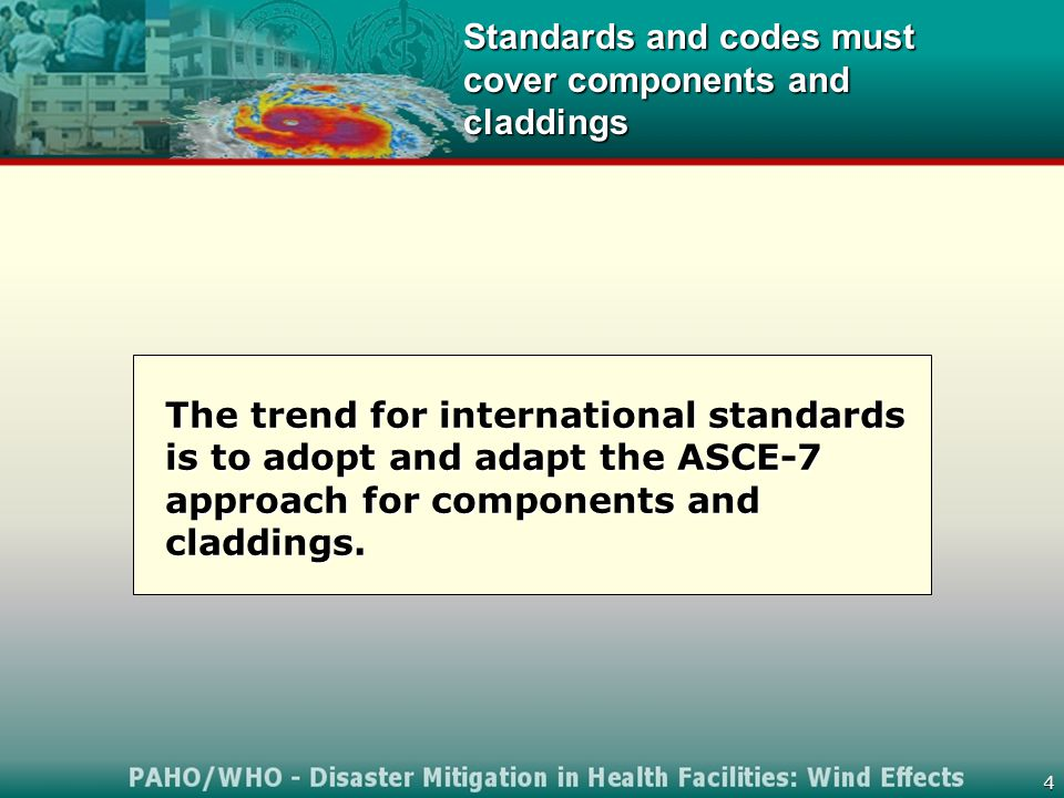 4 Standards and codes must cover components and claddings The trend for international standards is to adopt and adapt the ASCE-7 approach for components and claddings.