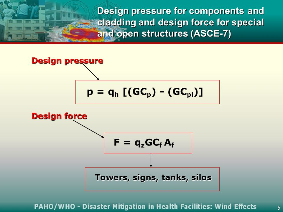 5 Design pressure for components and cladding and design force for special and open structures (ASCE-7) Towers, signs, tanks, silos p = q h [(GC p ) - (GC pi )] F = q z GC f A f Design pressure Design force