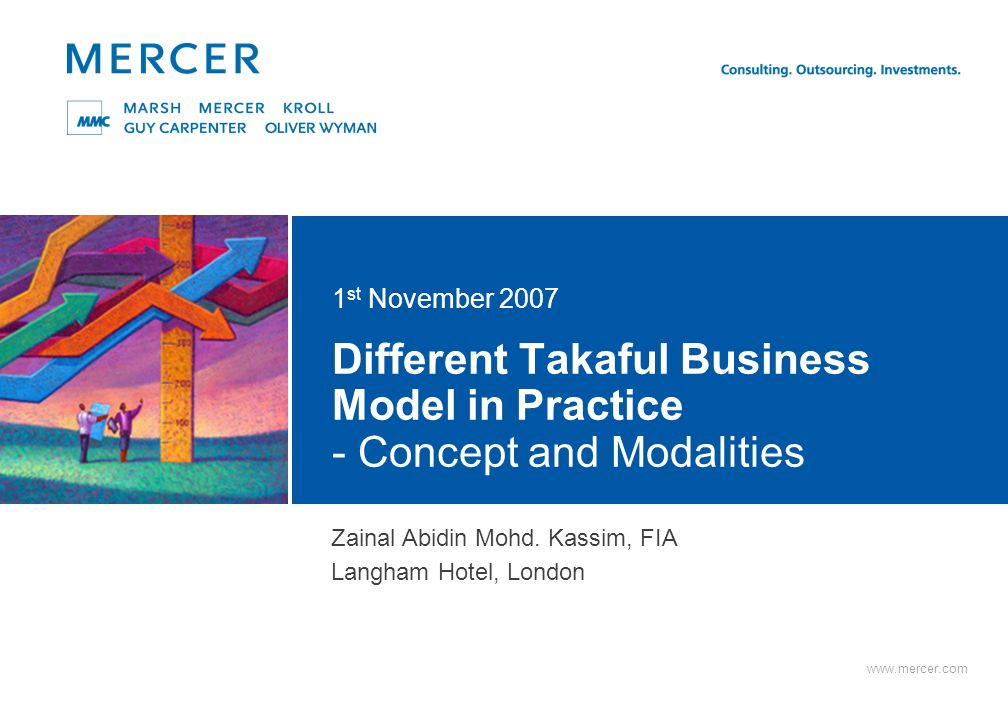 11 Mercer Basis of Operation - the Company / Cooperative approach The Mudharabah model The first Takaful Operator in Malaysia is Syarikat Takaful Malaysia.