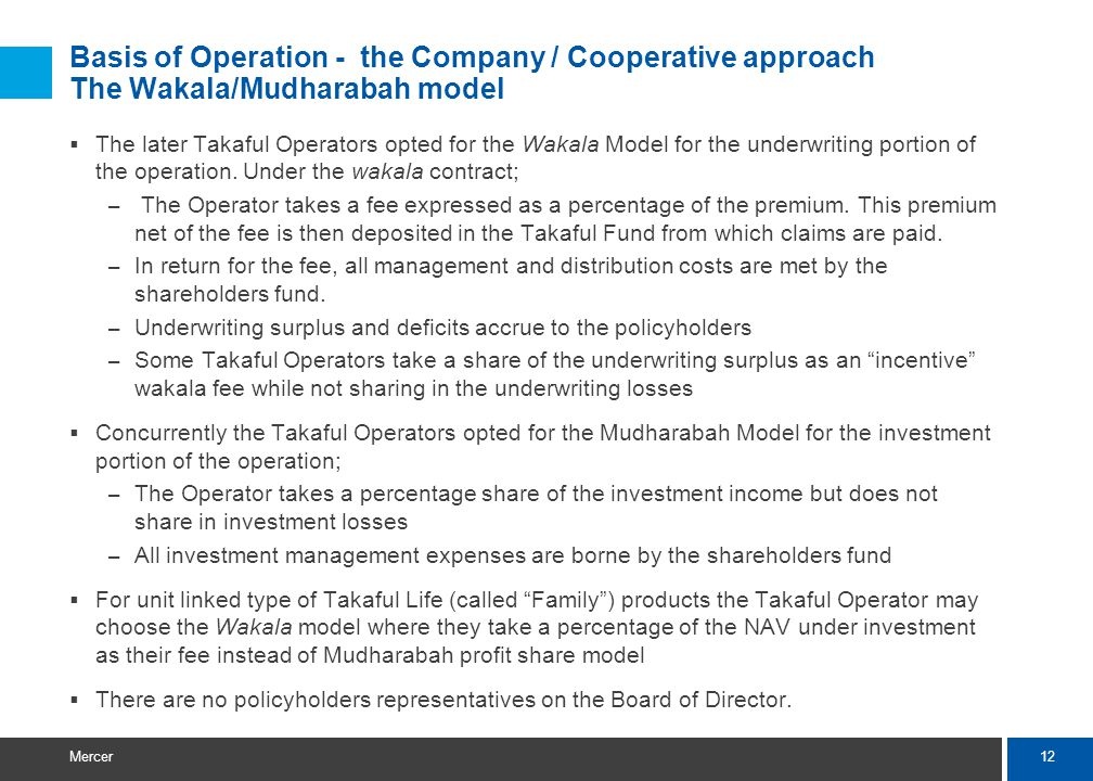 12 Mercer Basis of Operation - the Company / Cooperative approach The Wakala/Mudharabah model The later Takaful Operators opted for the Wakala Model for the underwriting portion of the operation.
