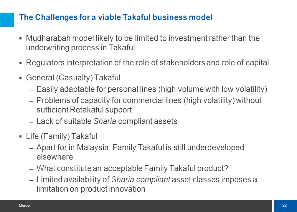 22 Mercer The Challenges for a viable Takaful business model Mudharabah model likely to be limited to investment rather than the underwriting process in Takaful Regulators interpretation of the role of stakeholders and role of capital General (Casualty) Takaful – Easily adaptable for personal lines (high volume with low volatility) – Problems of capacity for commercial lines (high volatility) without sufficient Retakaful support – Lack of suitable Sharia compliant assets Life (Family) Takaful – Apart for in Malaysia, Family Takaful is still underdeveloped elsewhere – What constitute an acceptable Family Takaful product.