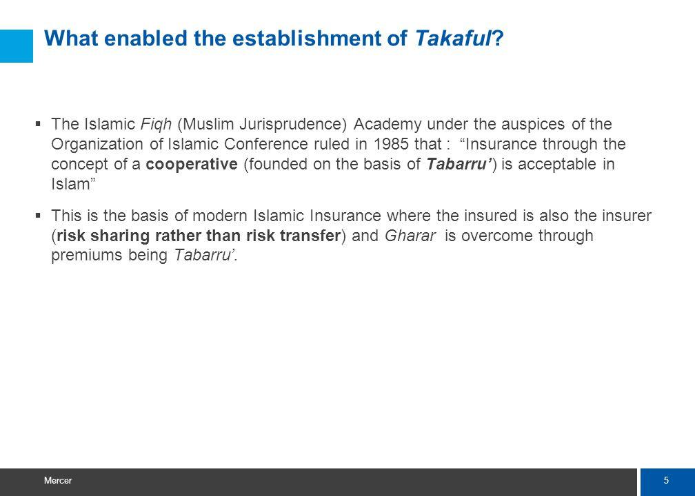 5 Mercer What enabled the establishment of Takaful.
