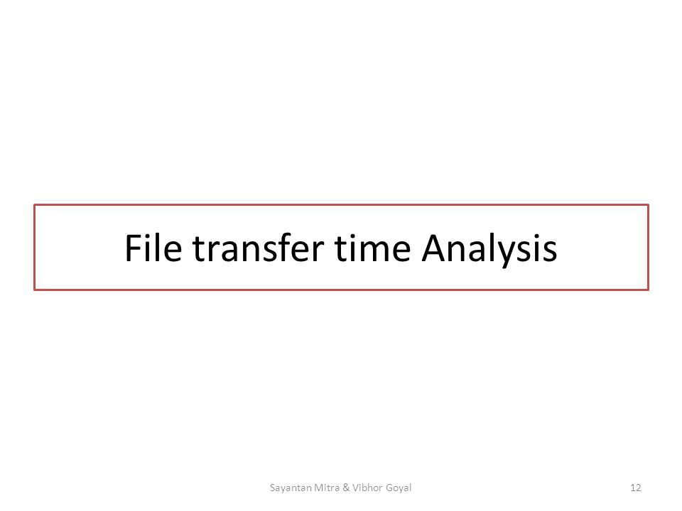 File transfer time Analysis 12Sayantan Mitra & Vibhor Goyal
