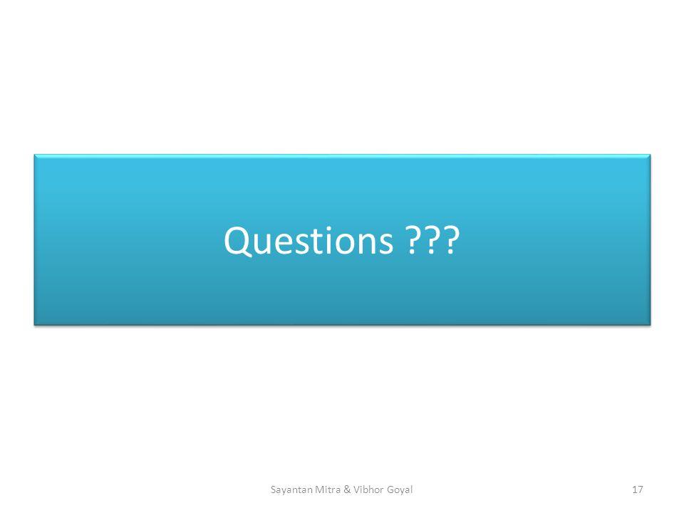 Questions 17Sayantan Mitra & Vibhor Goyal