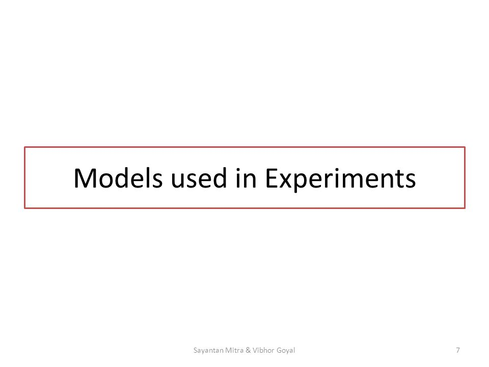 Models used in Experiments 7Sayantan Mitra & Vibhor Goyal