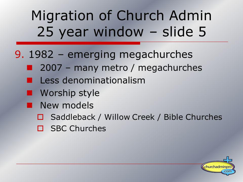 Migration of Church Admin 25 year window – slide 5 9.1982 – emerging megachurches 2007 – many metro / megachurches Less denominationalism Worship styl