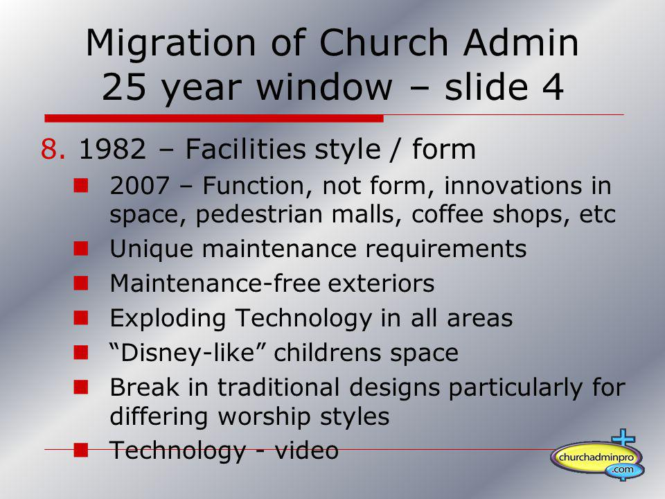 Migration of Church Admin 25 year window – slide 4 8.1982 – Facilities style / form 2007 – Function, not form, innovations in space, pedestrian malls,