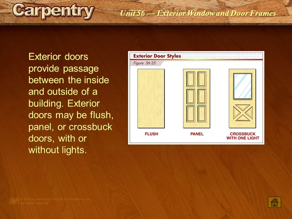 Unit 56 Exterior Window and Door Frames Main entrance doors may be single or double doors. Main entrance doors may be flanked by sidelights or a trans