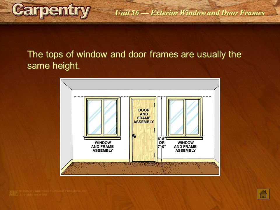 Unit 56 Exterior Window and Door Frames Awning windows are hinged at the top and swing out at the bottom.