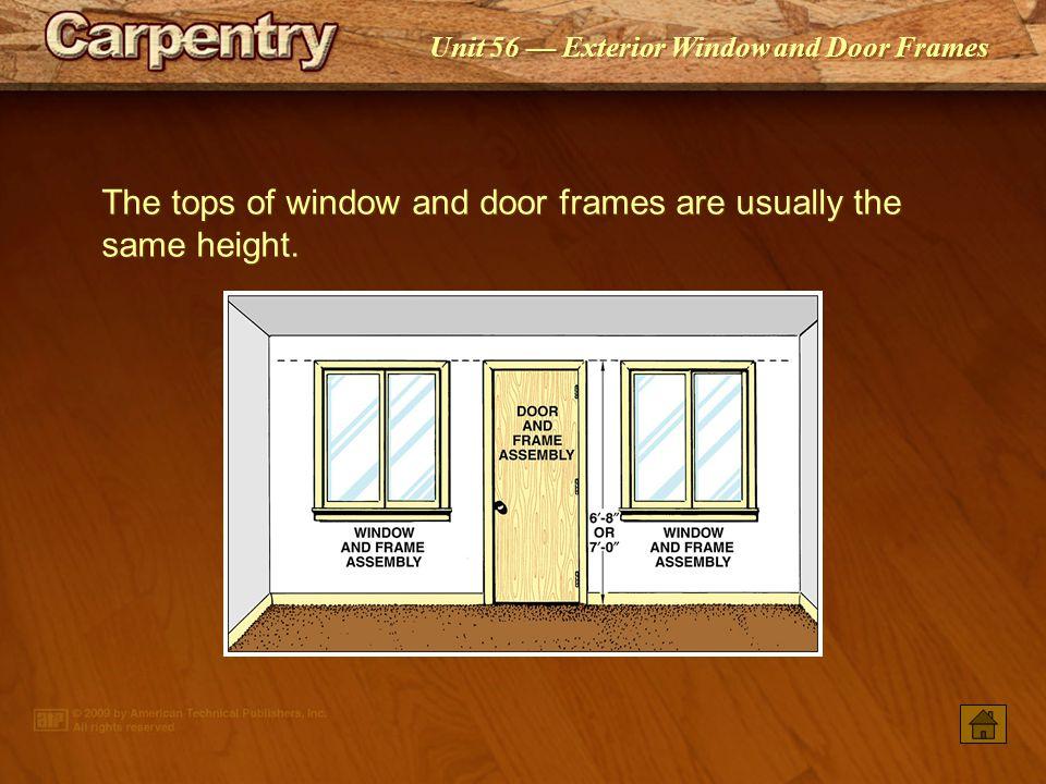 Unit 56 Exterior Window and Door Frames The tops of window and door frames are usually the same height.