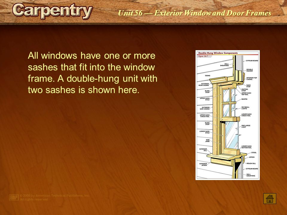 Unit 56 Exterior Window and Door Frames All windows have one or more sashes that fit into the window frame.