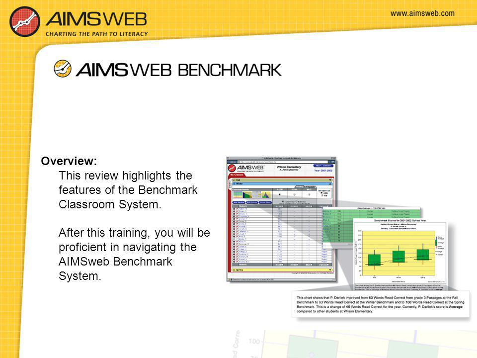 Overview: This review highlights the features of the Benchmark Classroom System. After this training, you will be proficient in navigating the AIMSweb