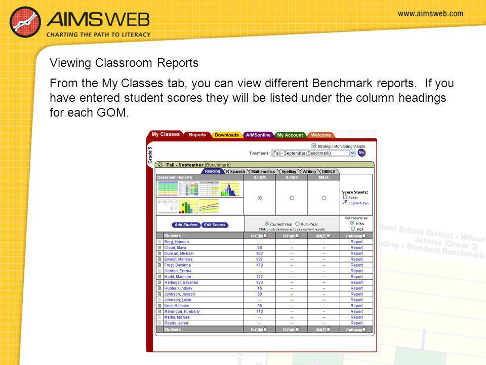 From the My Classes tab, you can view different Benchmark reports. If you have entered student scores they will be listed under the column headings fo