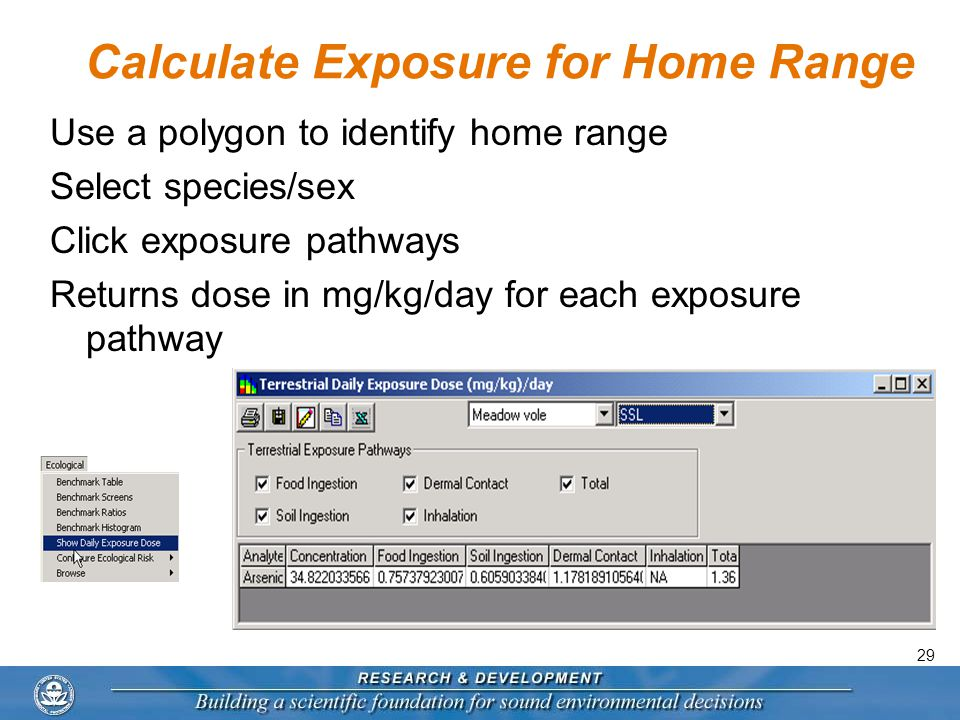 29 Calculate Exposure for Home Range Use a polygon to identify home range Select species/sex Click exposure pathways Returns dose in mg/kg/day for each exposure pathway