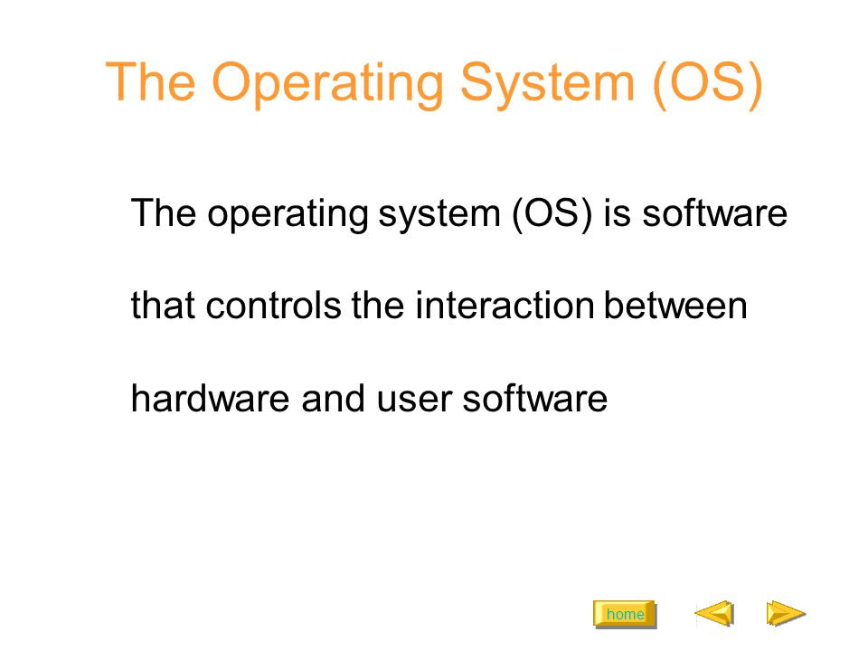 home The Operating System (OS) The operating system (OS) is software that controls the interaction between hardware and user software